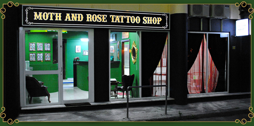 Moth and Rose Tattoo Shop